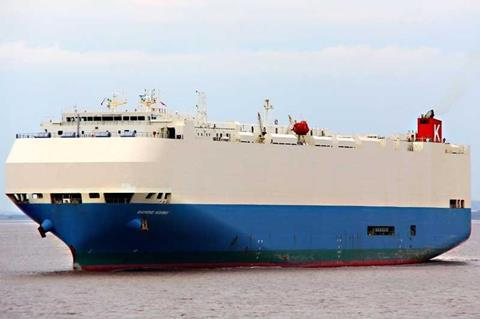Fire on K-Line car carrier forces crew to abandon ship